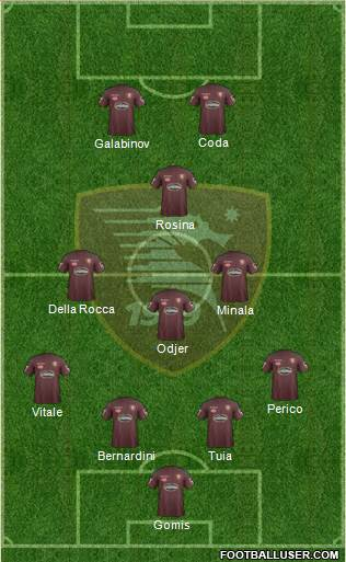 Salernitana 4-3-1-2 football formation