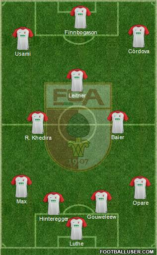 FC Augsburg 4-2-1-3 football formation