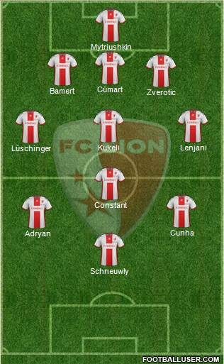 FC Sion 3-4-3 football formation