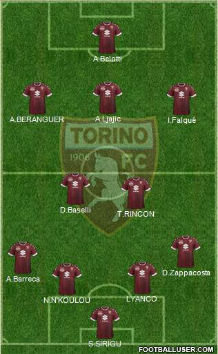 Torino 4-2-3-1 football formation