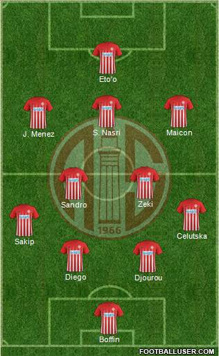 Antalyaspor A.S. 4-2-3-1 football formation
