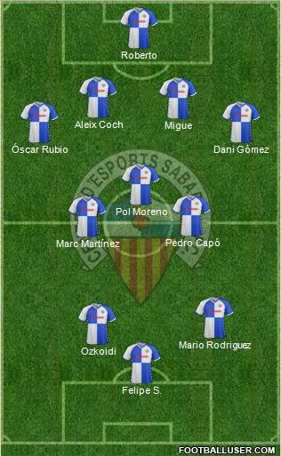 C.E. Sabadell 3-5-2 football formation