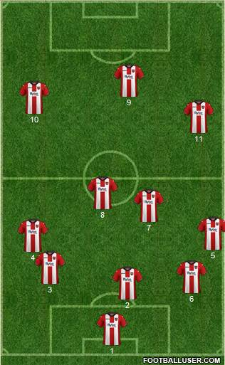 Exeter City 3-4-3 football formation
