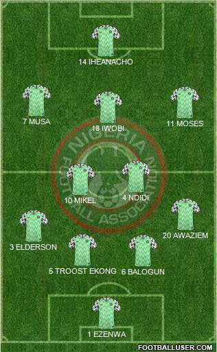 Nigeria 4-2-3-1 football formation