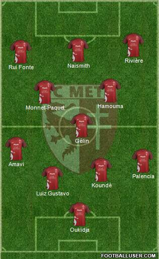 Football Club de Metz 4-3-3 football formation