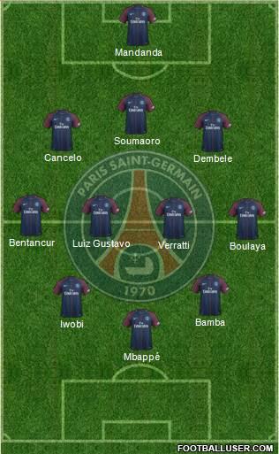 Paris Saint-Germain 3-4-3 football mondial formation