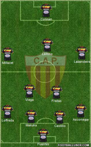 Club Atlético Progreso 4-4-1-1 football formation