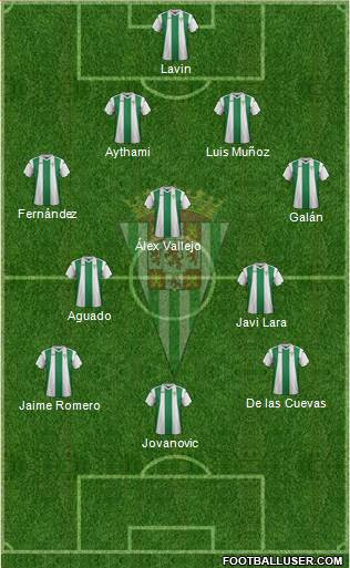 Córdoba C.F., S.A.D. 3-5-1-1 football formation