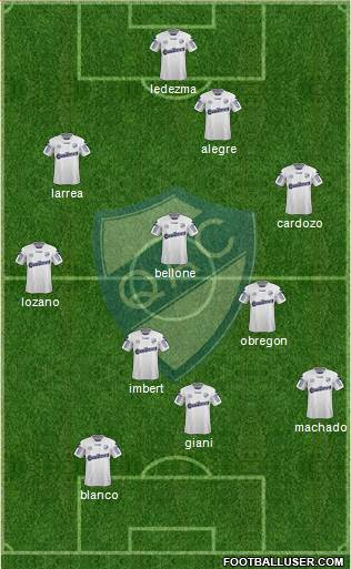 Quilmes 3-5-1-1 football formation