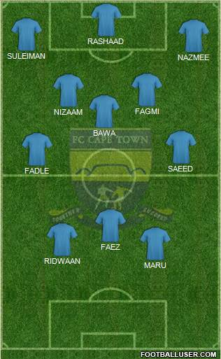 FC Cape Town 4-3-1-2 football formation