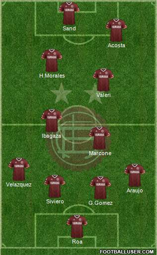 Lanús 4-2-2-2 football formation