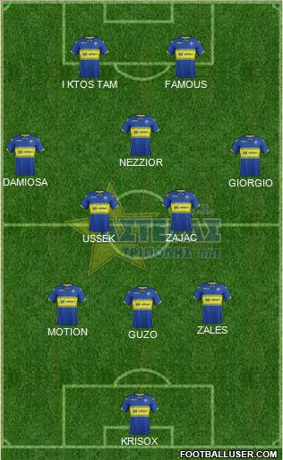 AGS Asteras Tripolis 3-5-2 football formation