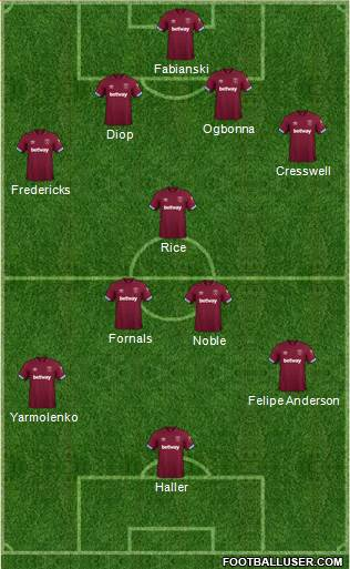 West Ham United football formation