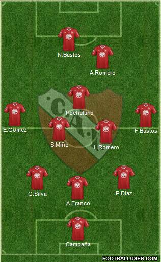 Independiente 3-5-1-1 football formation