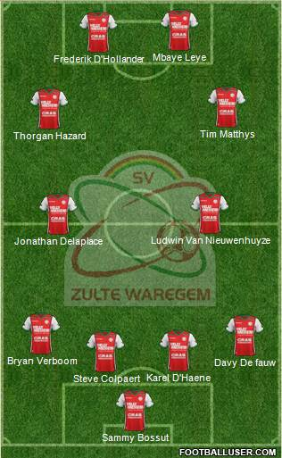 SV Zulte Waregem 4-4-2 football formation