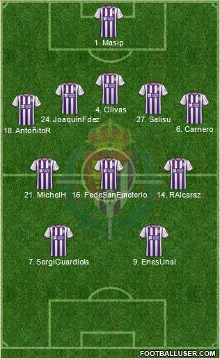 R. Valladolid C.F., S.A.D. 3-4-3 football formation