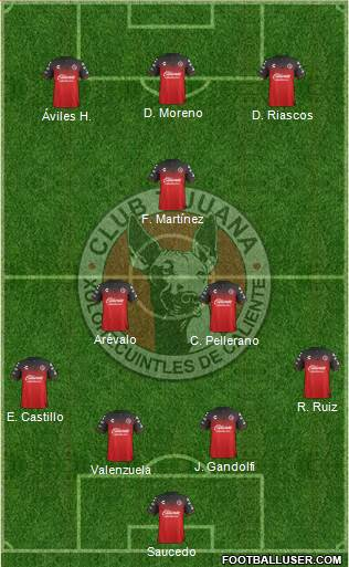 Xoloitzcuintles de Tijuana football formation